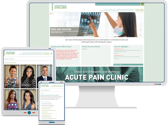 Orthopedic Wellness Center - Responsive Web Design & Web Development for Medical CMS Website