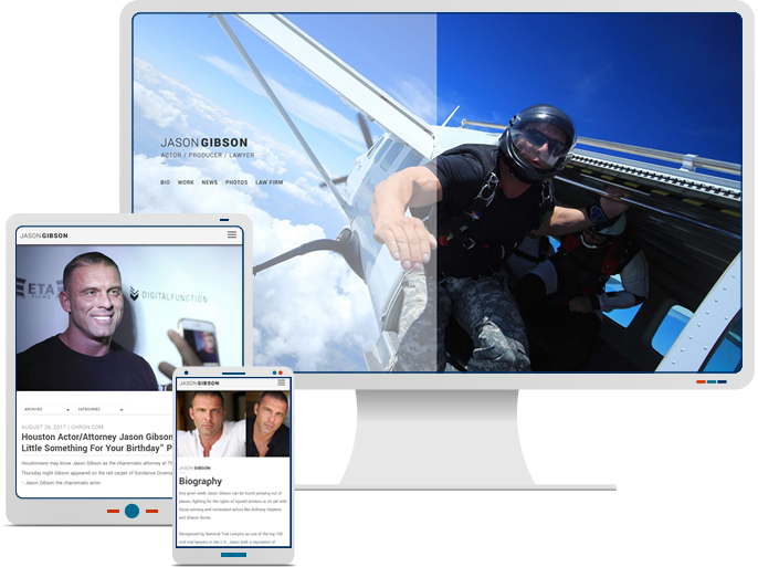 Actor Jason Gibson - Responsive Web Design & Development for CMS Website