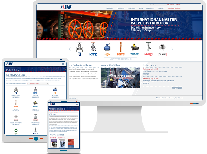 AIV Inc. - Responsive Website Design & Web Development for Valve Catalog CMS Website