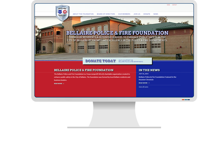 Bellaire Police & Fire Foundation - Website Design & Web Development for Non-Profit CMS Website