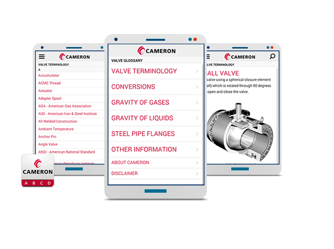 Cameron International -  Valve Glossary Mobile App for iPhone, Android, & Blackberry Devices