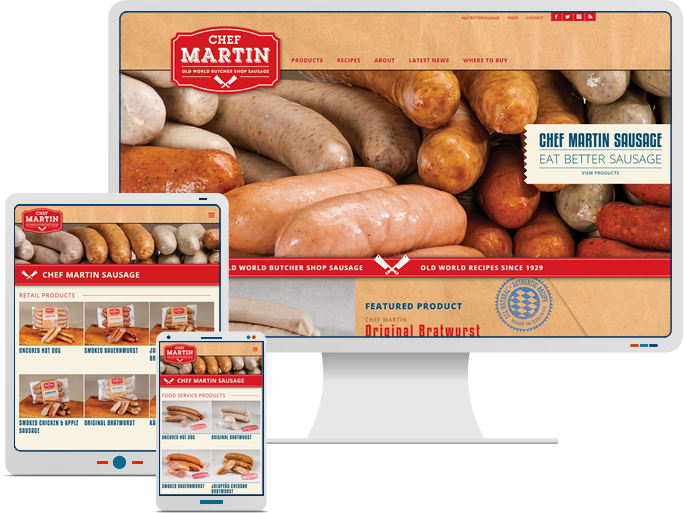 Chef Martin Sausage - Responsive Website Design & Web Development for Food Service Catalog CMS Website