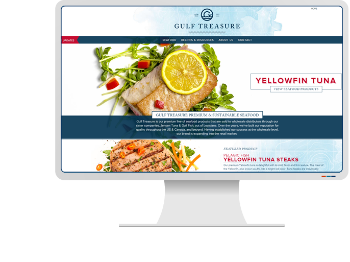 Gulf Treasure Seafood - Website Design & Web Development for Food Service Catalog CMS Website