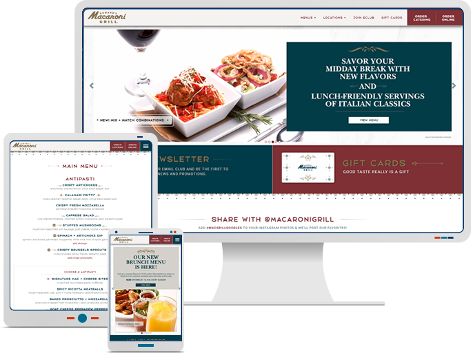 Romano's Macaroni Grill - Responsive Web Redesign for Restaurant CMS Website